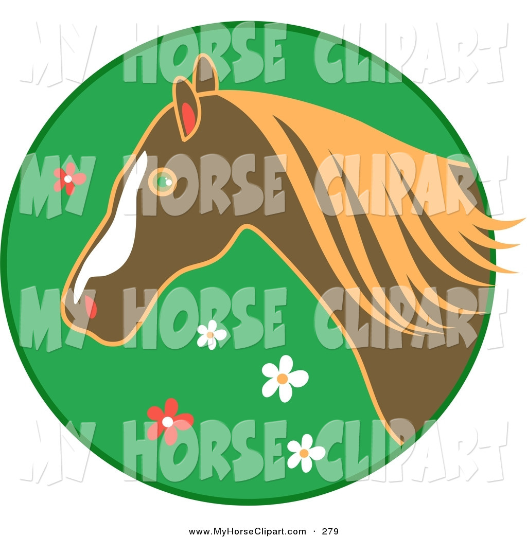 Horse Over A Green Floral Circle Icon Bridled Brown And White Clipart