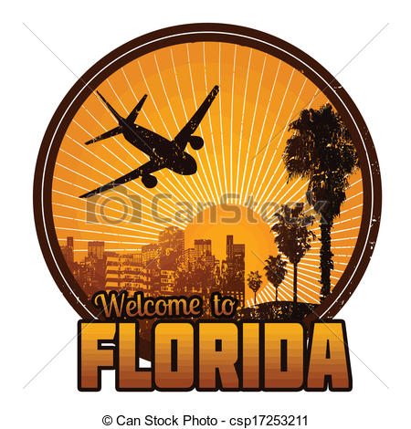 Label Or Stamp   Welcome To Florida    Csp17253211   Search Clipart