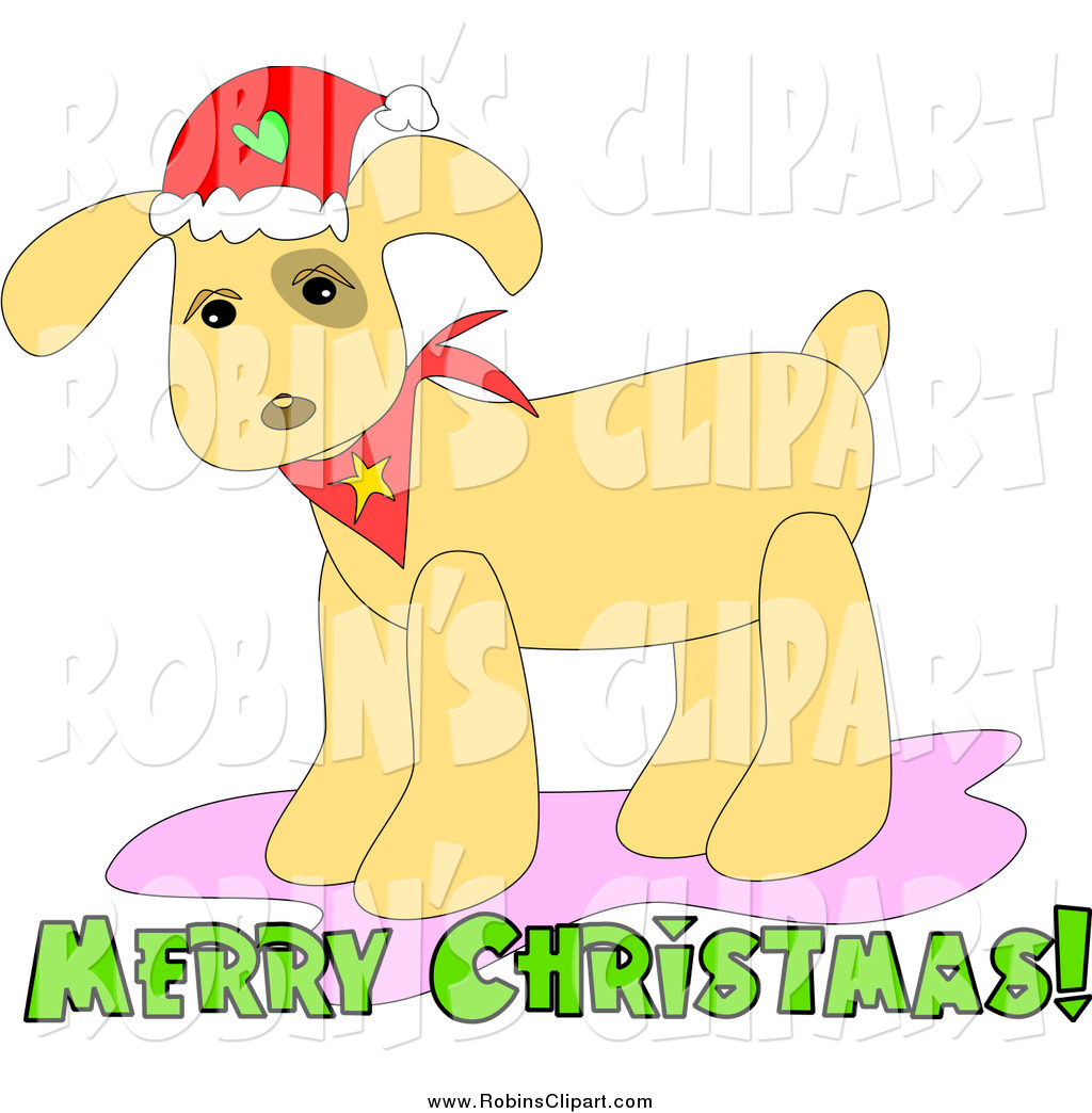 Larger Preview  Clip Art Of A Christmas Dog Wearing A Santa Hat And A
