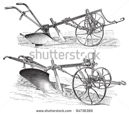 Old Ploughs  Made In Germany    Vintage Illustration From Meyers