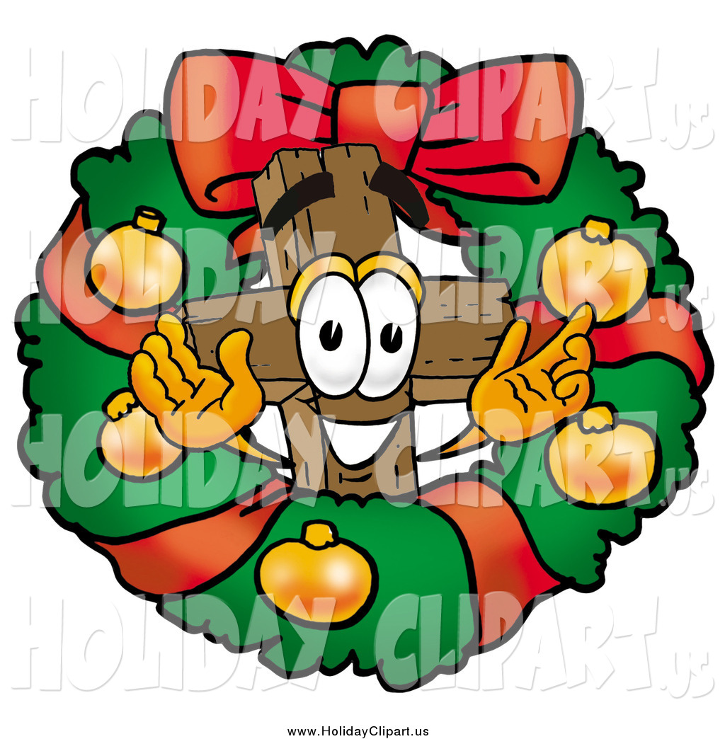 Preview  Holiday Clip Art Of A Christmas Wreath And Cross By Toons4biz
