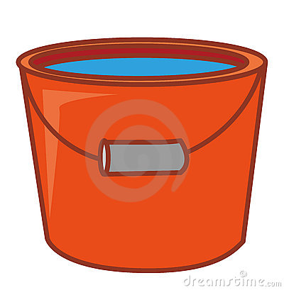 Red Water Pail With Water In It