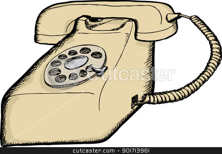 Rotary Telephone Stock Vector Clipart Beige Desktop Rotary Telephone
