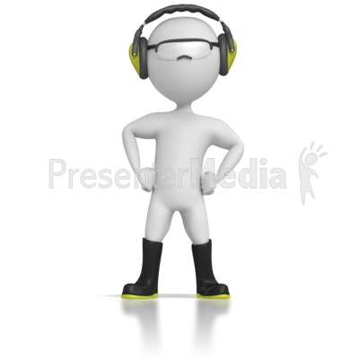 Stick Figure Wearing Safety Gear Presentation Clipart Picture