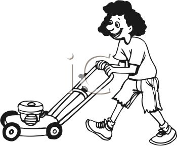 Teen Girl Mowing The Lawn Royalty Free Image Clipart