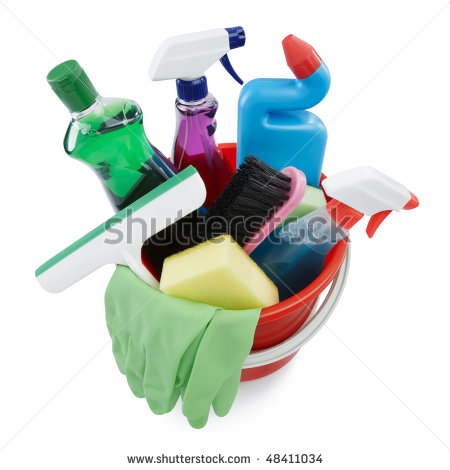 Variety Of Cleaning Products In A Bucket Stock Photo 48411034