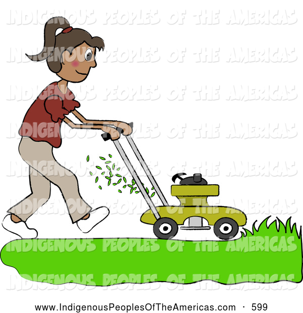 Vector Clipart Of A Girl Mowing A Lawn By Pams Clipart    599