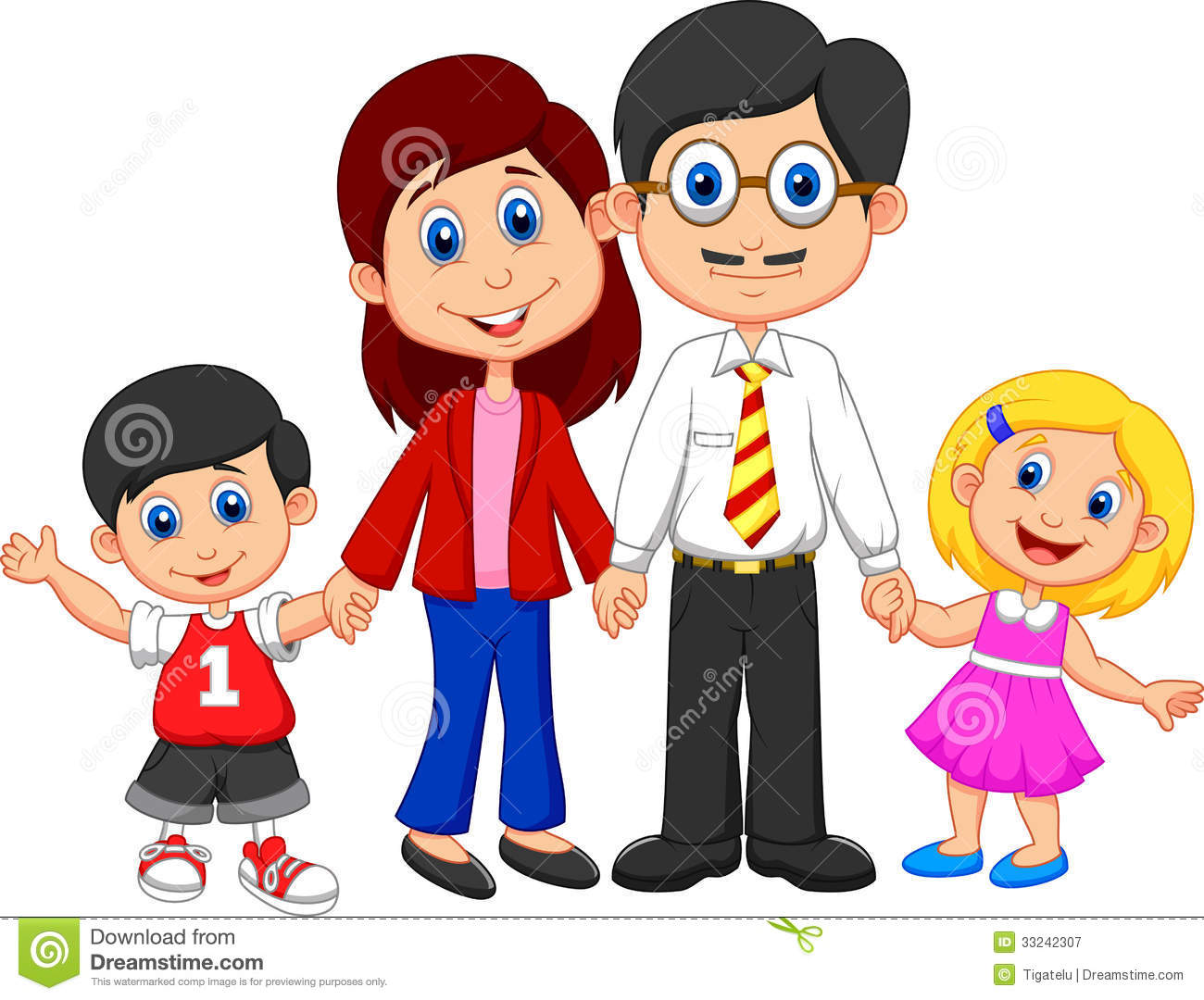 Family Of Four Cartoon Clipart - Clipart Kid