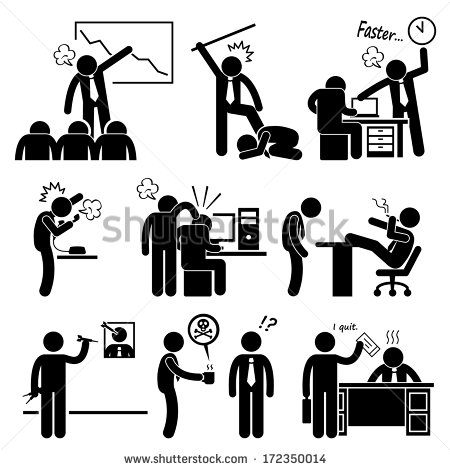 Angry Boss Abusing Employee Stick Figure Pictogram Icon   Stock Photo
