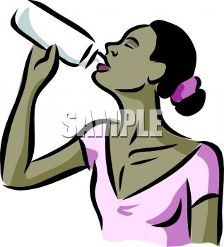 Black Woman Drinking From A Water Bottle   Royalty Free Clip Art Image