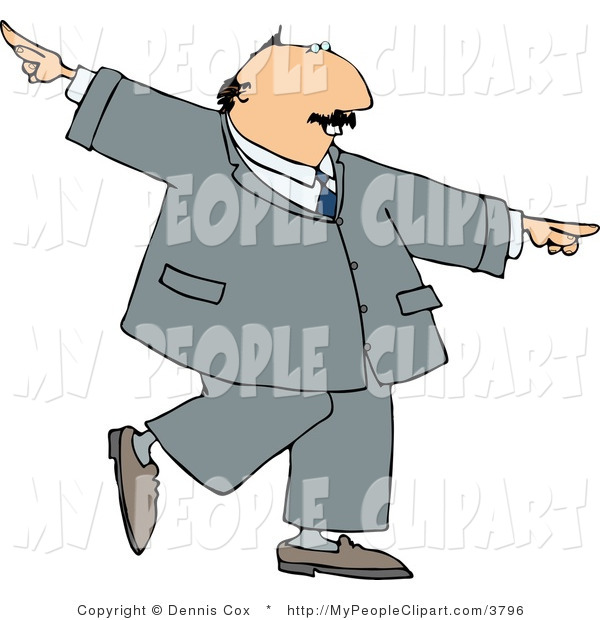 Clip Art Of A Successful Happy Businessman Dancing In A Gray Suit