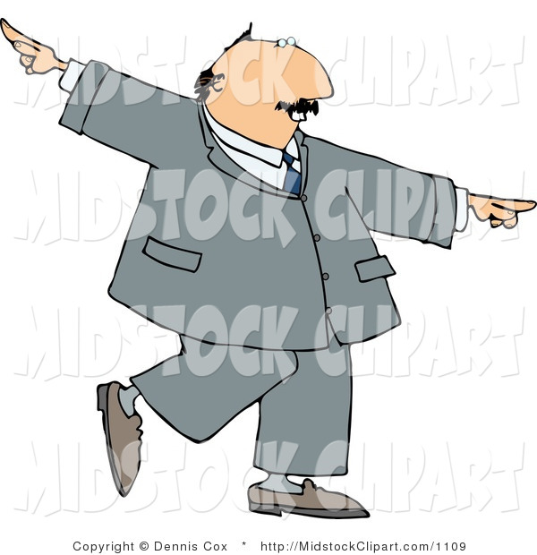 Clip Art Of A Successful Happy Man In A Suit Dancing By Djart    1109