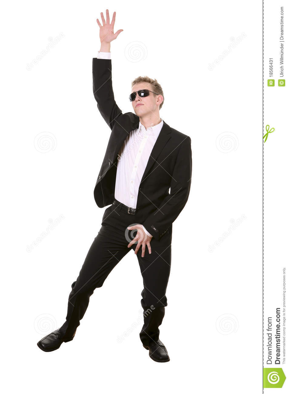 Cool Young Man In Suit Dancing   Isolated On White