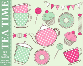 Get 1 Free  Hand Drawn Digita L Tea Time Clip Art Tea Cups Teapot