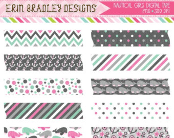 Girls Pink   Gray Digital Washi Tape Clipart Graphics Anchors Whales