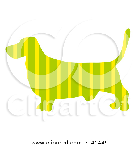 Green Profiled Basset Hound Dog With Yellow Stripes