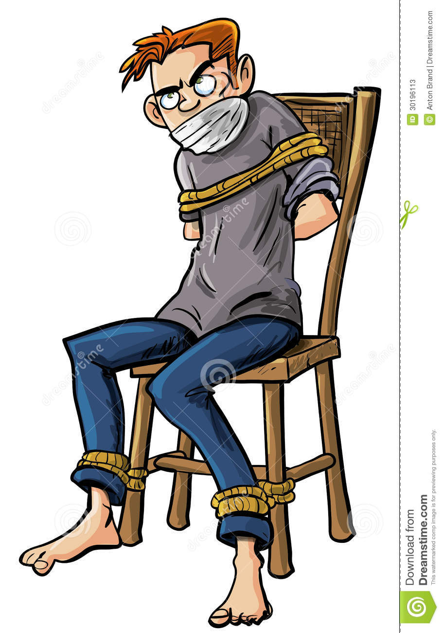 Illustration Of A Barefoot Angry Scowling Young Man Tied To A Chair