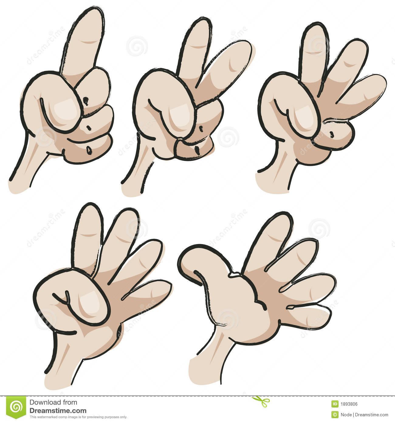 Illustration Of Five Hands Counting