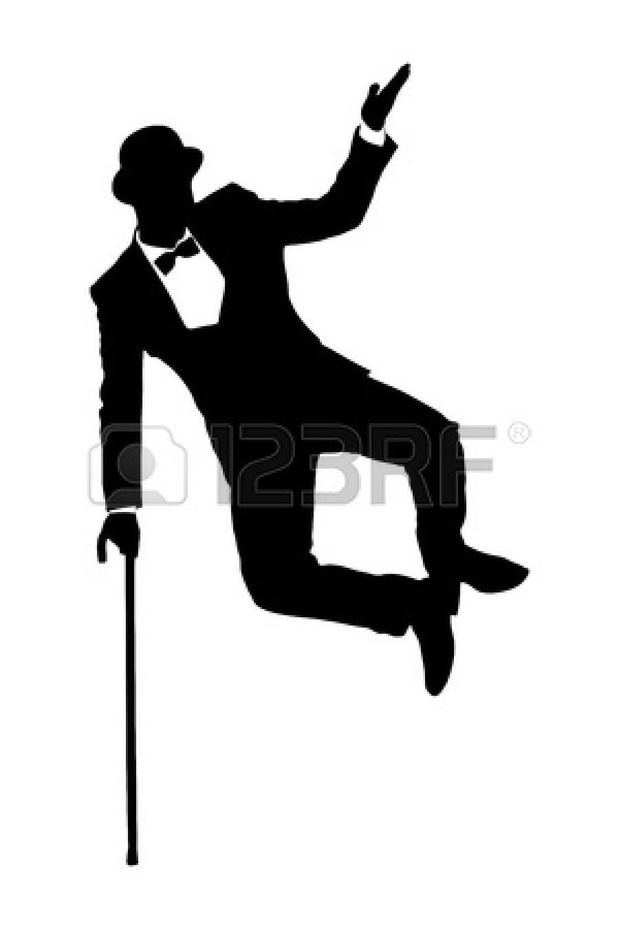 In Suit Holding A Cane And Dancing Isolated On White Background Jpg