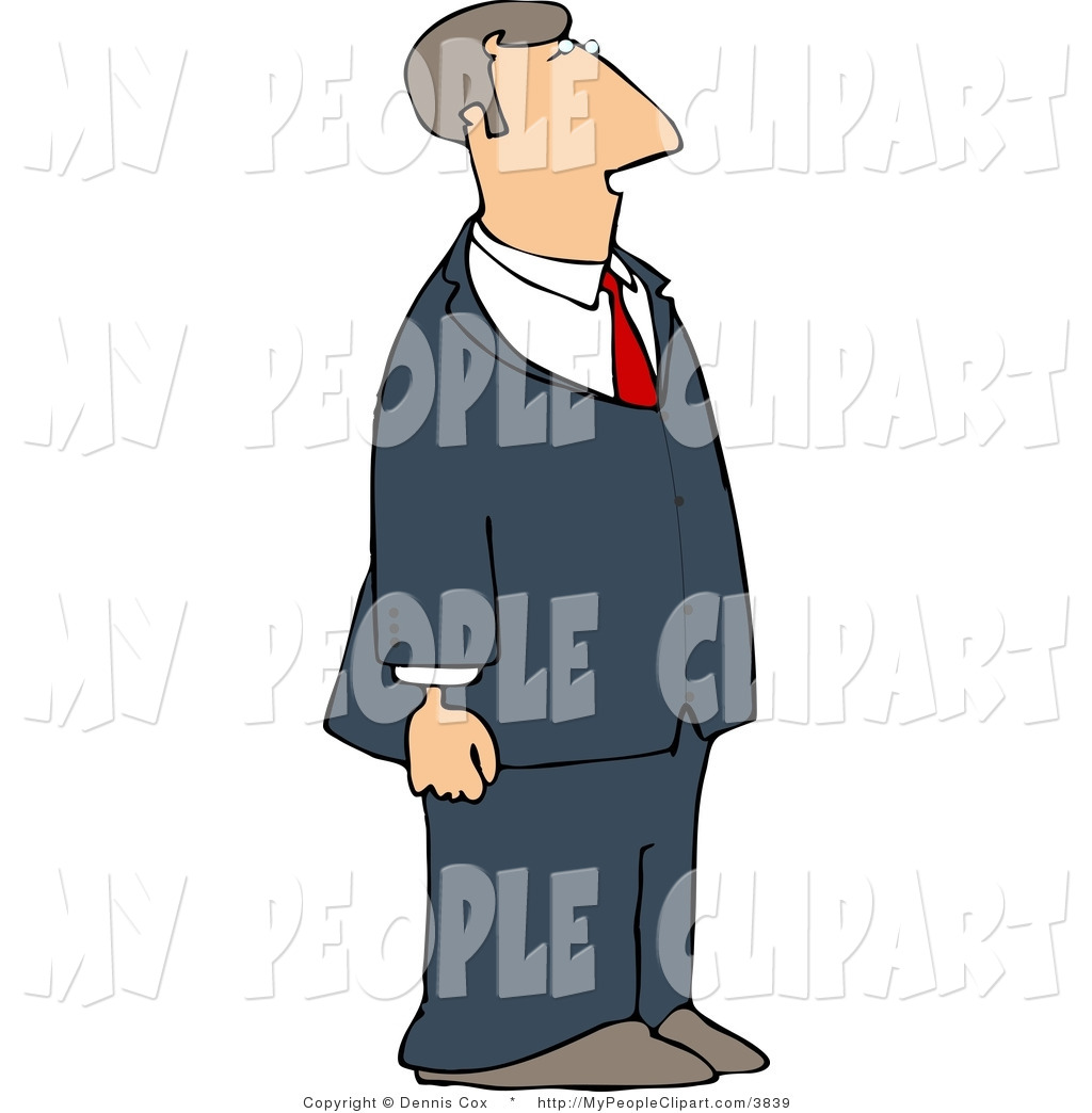 Larger Preview  Clip Art Of A Blue Suit Business Man Facing Right By