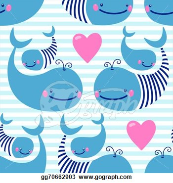 Pattern With Cute Whales  Vector Illustration  Eps Clipart Gg70662903
