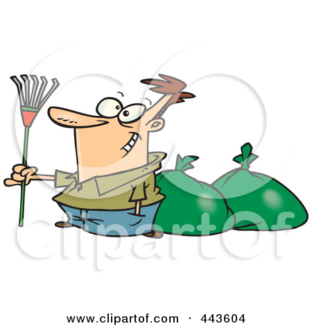 Poster Art Print Cartoon Man Finished Raking Leaves By Ron Leishman