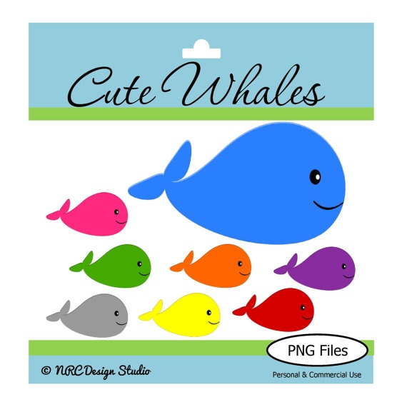 Sea Creature Clipart  Whales Clip Art  Png   Jpg  Personal And Commer
