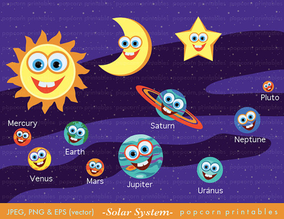 Clip Art Solar System Clipart cartoon solar system clipart kid set instant download paper crafts card making
