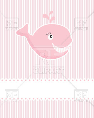 Stylized Funny Whale On Pink Stripped Background  Baby Girl Arrival