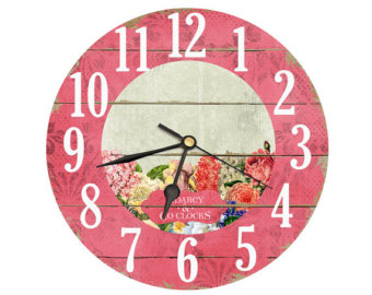 Teapot Clock With Vintage Flower Clipart  Handmade By Darcyclocks