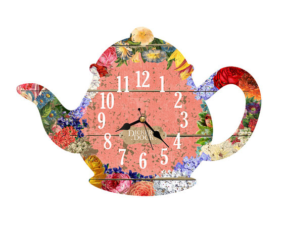 Teapot Clock With Vintage Flower Clipart  Handmade Wooden Clock