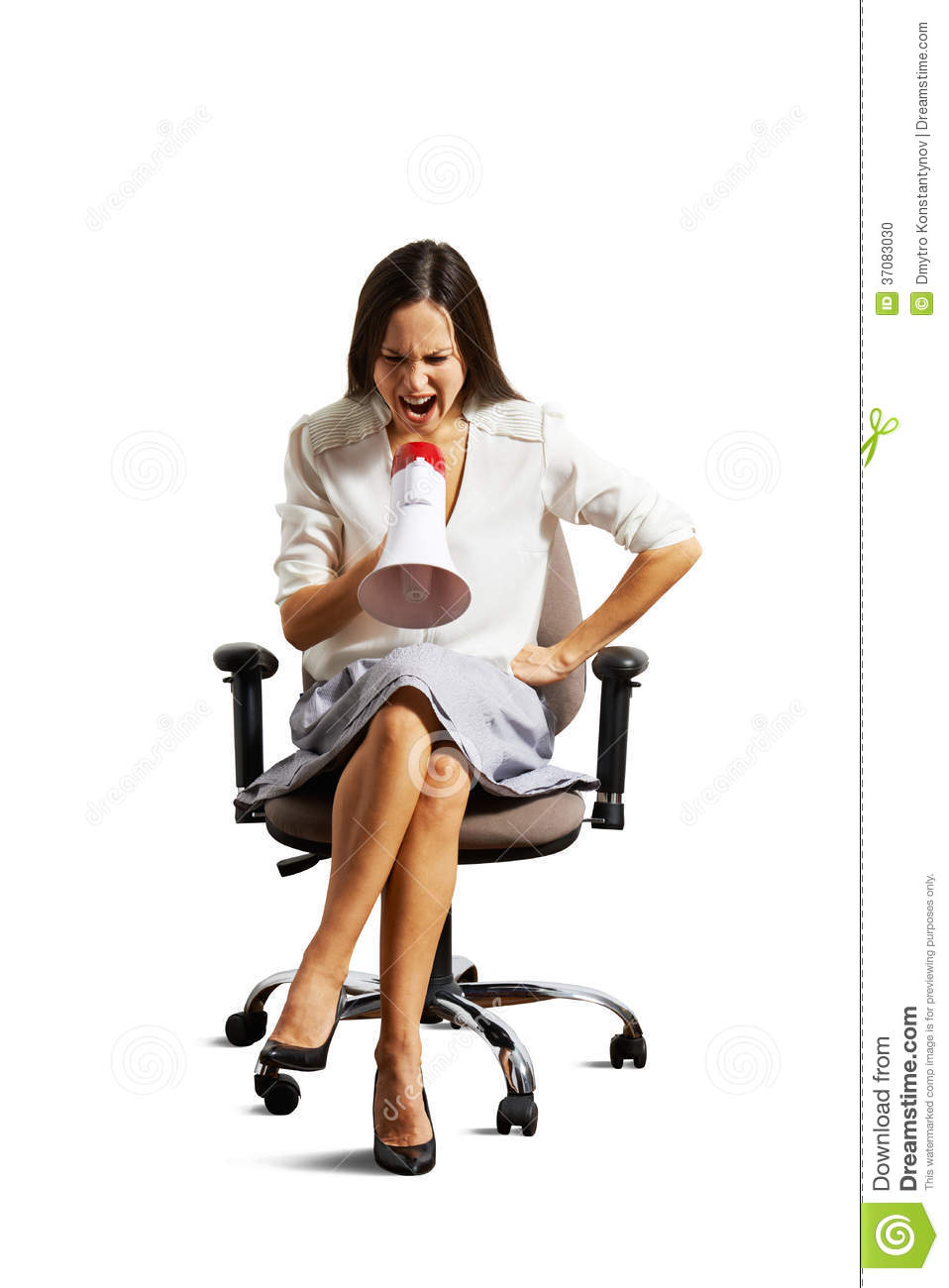 Woman Sitting On The Chair And Screaming Stock Photo   Image  37083030