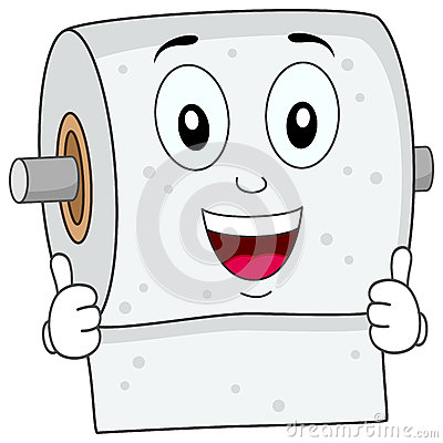 Cheerful Cartoon Toilet Paper Character Smiling With Thumbs Up
