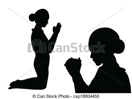 Clipart Vector Of Prayer Silhouette   Woman Paying Isolated On White