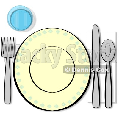 Informal Complete Place Setting For One Clipart Illustration   Dennis