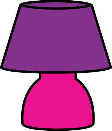 Lamp Clip Art Image   Small Pink Table Lamp With A Purple Lamp Shade
