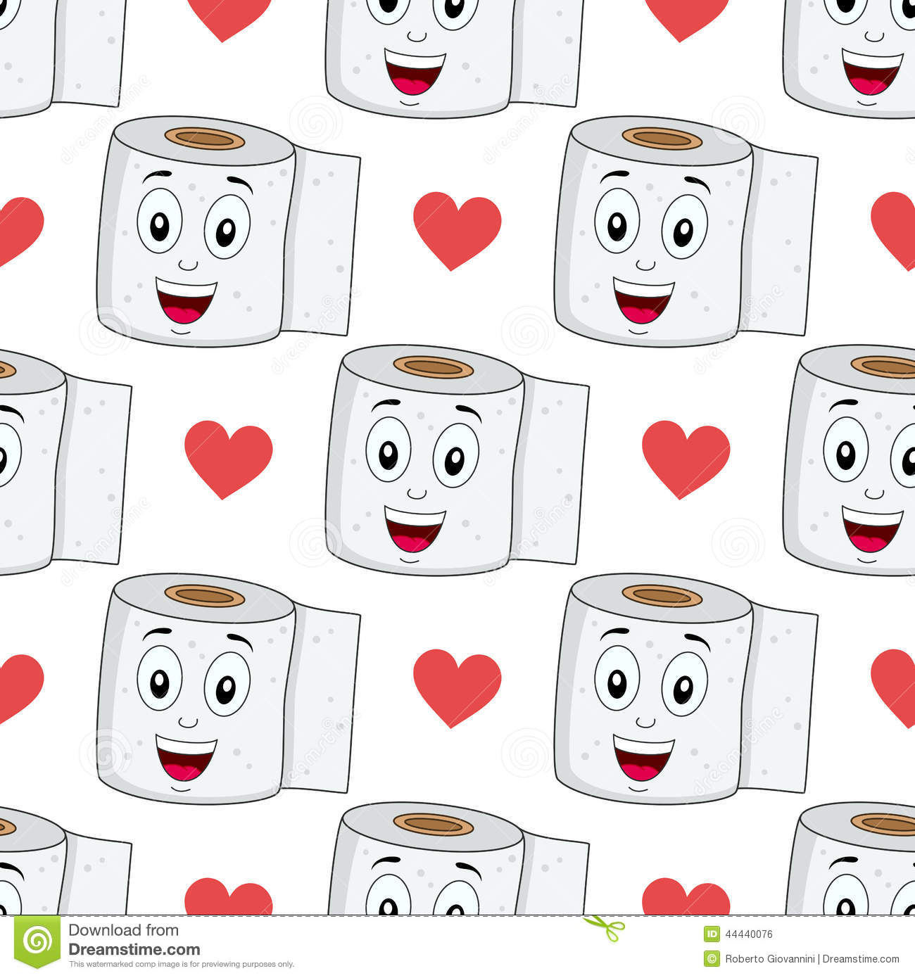 Seamless Pattern With A Cartoon Cute Toilet Paper Character Smiling