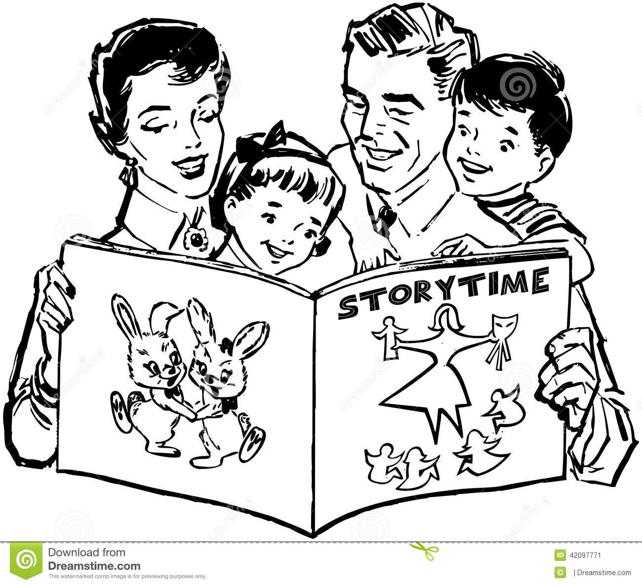 Family Reading Book Clipart