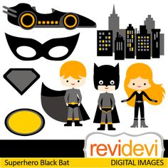 Superhero Cliparts  Boys And Girl In Bat Costume Mask Car Buildings