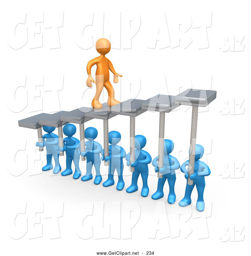 3d Clip Art Of A Orange Man Walking Upwards On Steps That Are Held By
