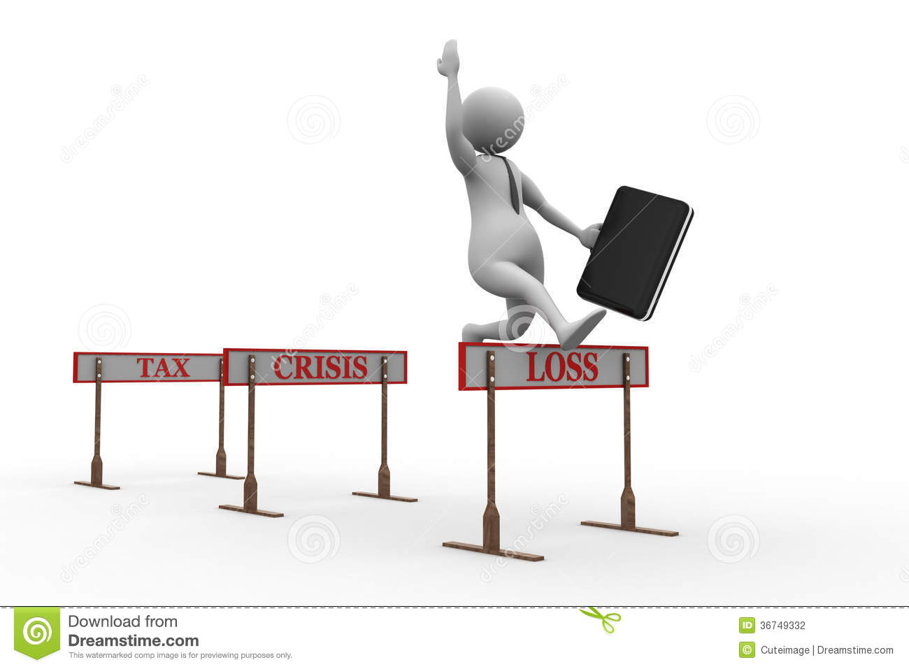 3d Man Jumping Over A Hurdle Obstacle Titled Tax Crisis Loss Stock