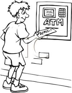 Black And White Cartoon Of A Guy Putting Money In An Atm   Royalty