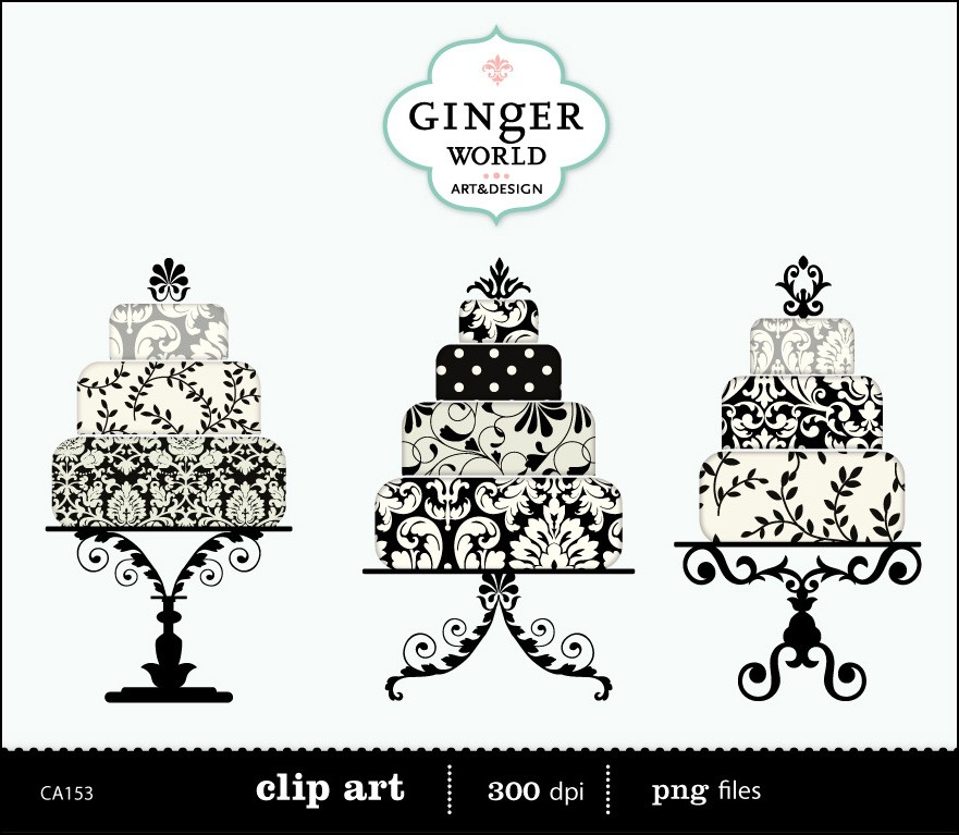 Black Damask Luxe Wedding Cake Clip Art Digital By Gingerworld