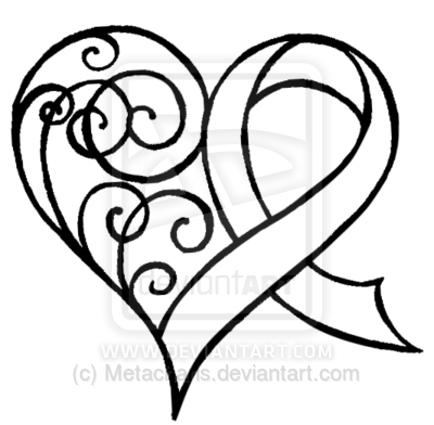 Cancer Ribbon Heart With Swirls Tattoo By Metacharis On Deviantart
