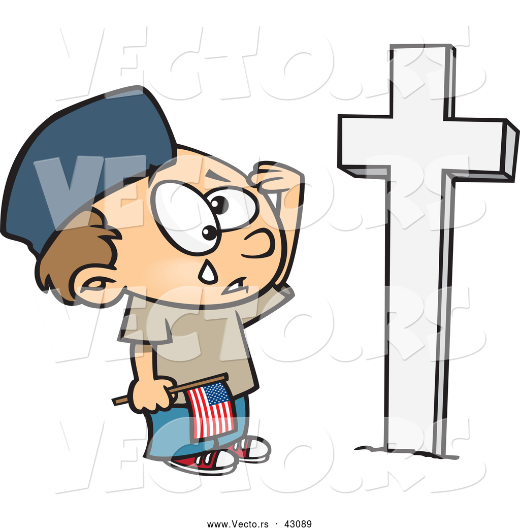 Cartoon Boy Crying And Saluting A Soldiers Grave On Memorial Day By