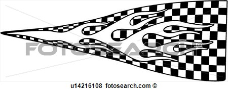 Clip Art Of  Auto Racing Graphic Checker Checkered Flag Flame
