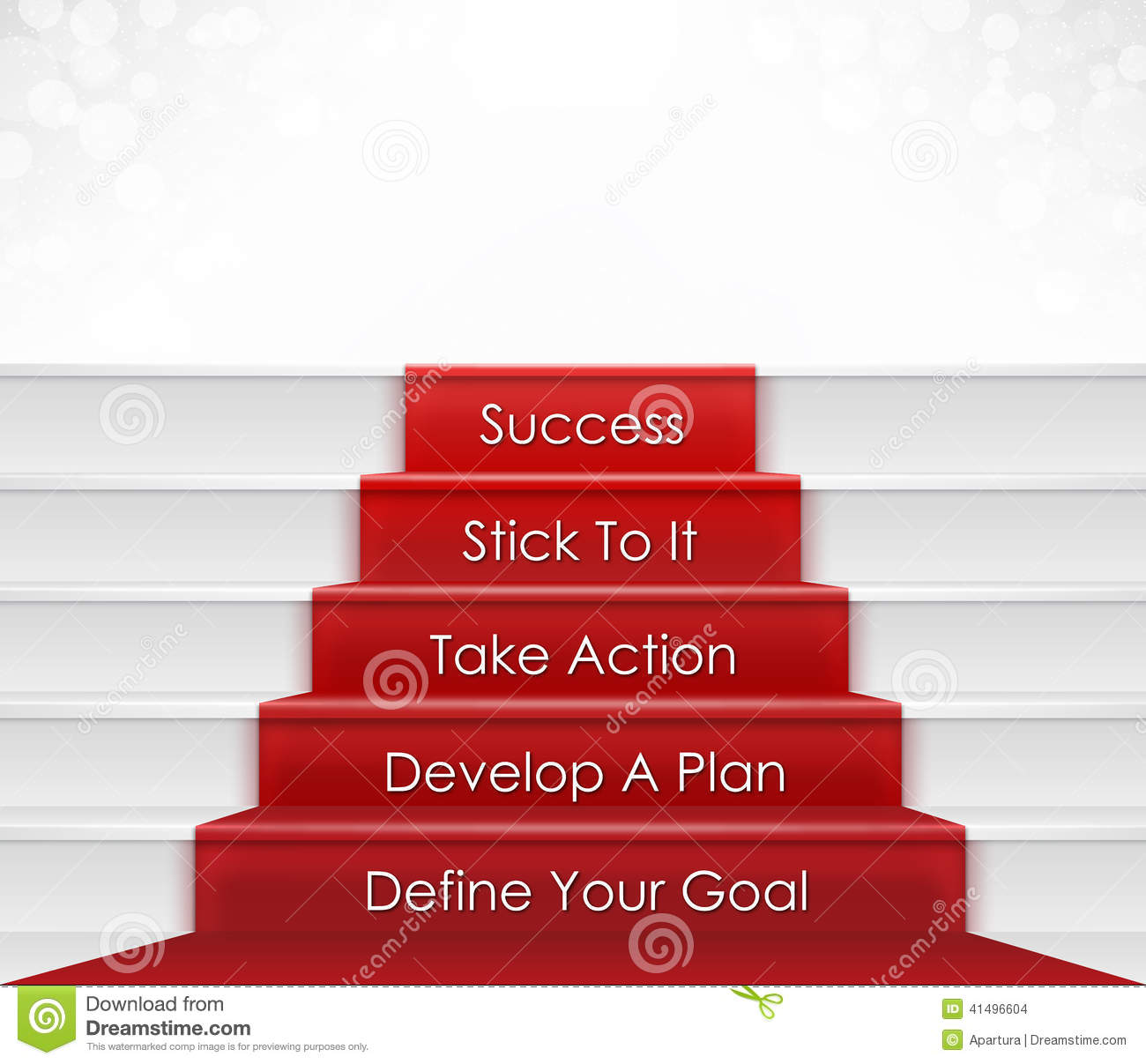 Five Steps To Success Concept Which Include Goal Plan Action