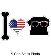 Love Pugs In Black With American Clip Art Vector