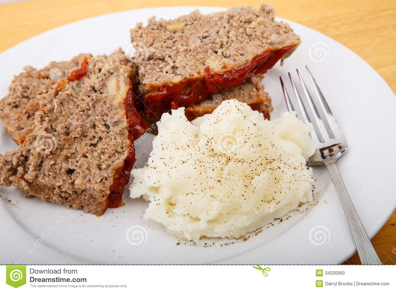 Meatloaf And Mashed Potatoes With Fork Stock Photo   Image  34230950