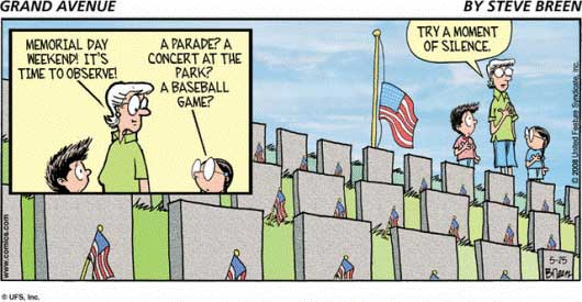 Memorial Day Cartoon Art  Text Reads Lady  Memorial Day Weekend It S
